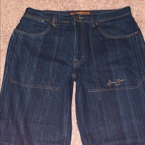 Sean John Baggy Fit Dark Blue Denim Mens Jeans